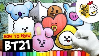 HOW TO DRAW BT21 CHARACTERS 1/3 | Best BT21 Members Easy Drawing | BTS and LINE FRIENDS | BLABLA ART