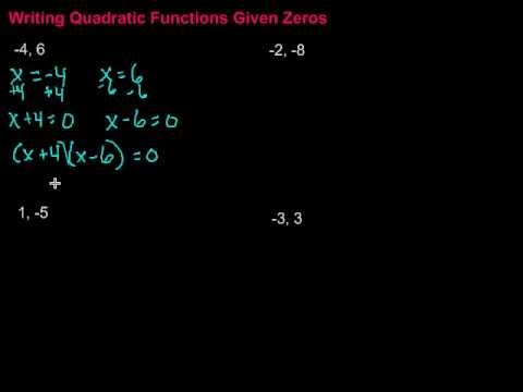 Writing Quadratic Functions Given Zeros - YouTube