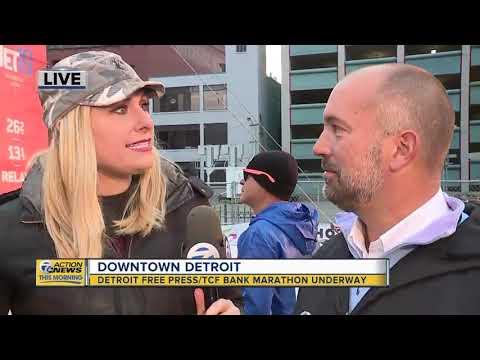 First Detroit Free Press/TCF Bank Half-Marathon Runner Crosses The Finish Line