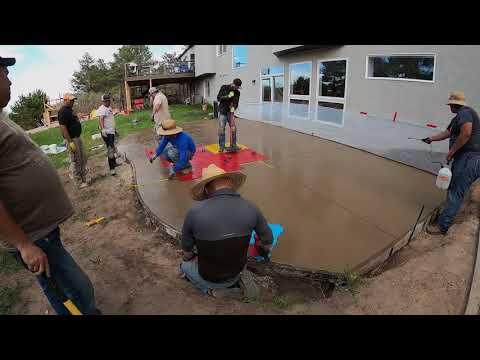 hqdefault - Pouring 700 square foot stamped concrete patio - Concrete Floor Pros
