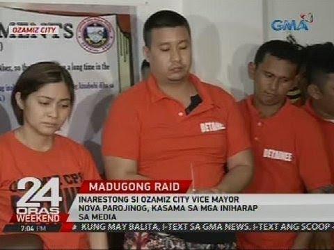 Inarestong si Ozamiz City Vice Mayor Nova Parojinog, kasama sa mga iniharap sa media