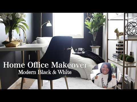 Home Office Makeover Reveal | Loft to Office Transformation | Modern Black & White