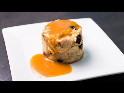 Rum & Raisin Bread Pudding with Caramel Sauce Recipe by Chef Jason Peru