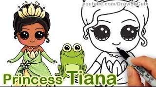 How to Draw Disney Princess Tiana Cute step by step