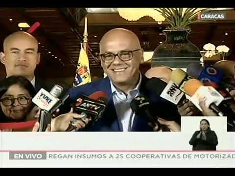Jorge Rodríguez y Timoteo Zambrano declaran desde la mesa de diálogo, 23 septiembre 2019