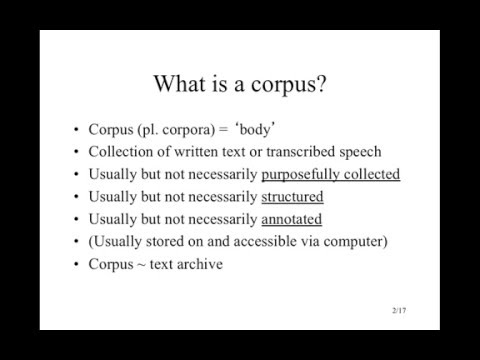 Introduction to corpora