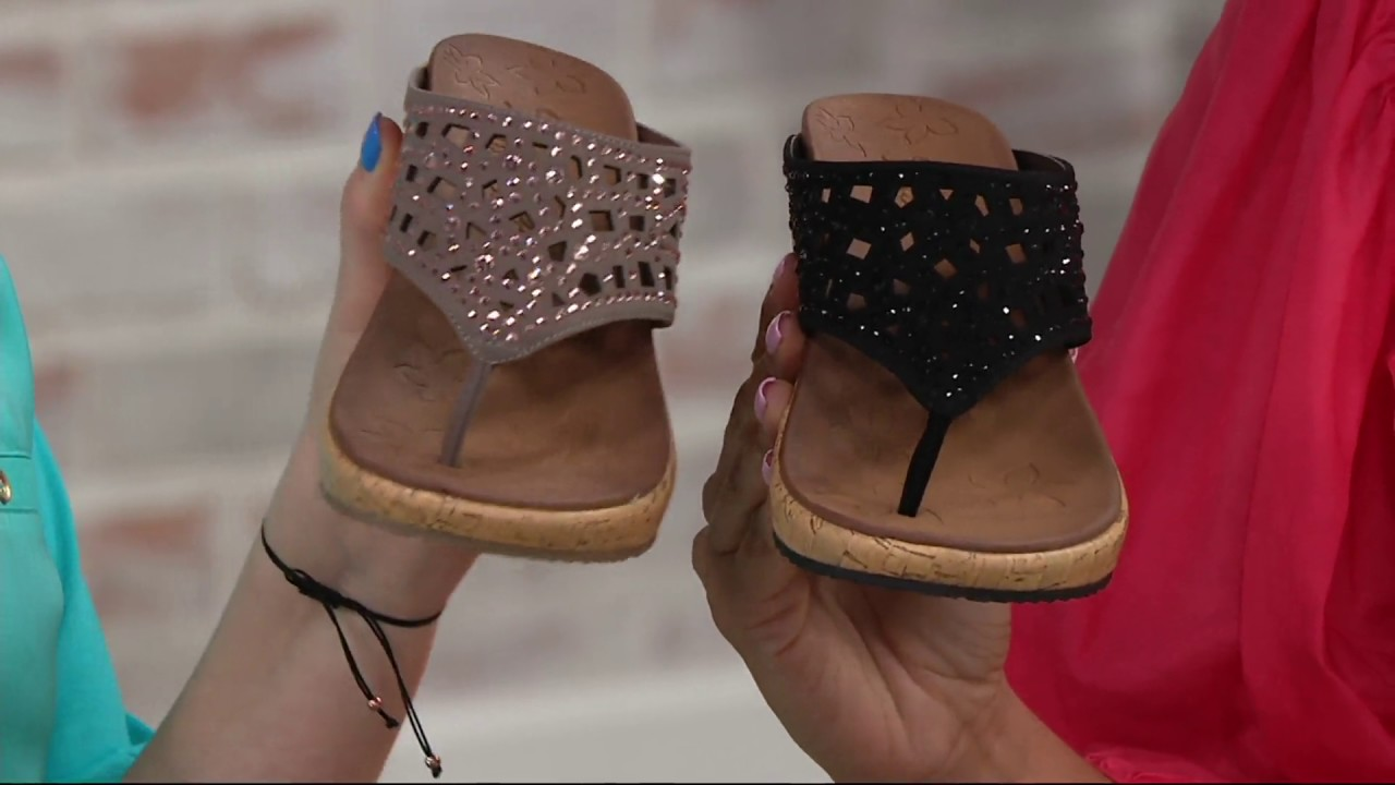 5362504f288f Skechers Wedge Thong Sandals w  Rhinestones - Dazzled on QVC - YouTube