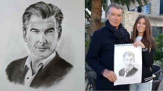 Pierce Brosnan - realistic drawing