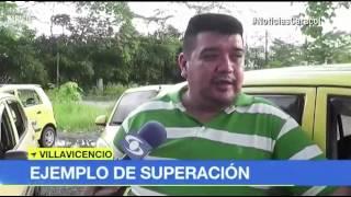 Un taxista en condición de discaàcidad en Villavicencio hoy es ejemplo de superación.