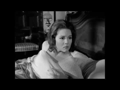 Diana Rigg wearing a sexy sheer nightdress in The Avengers