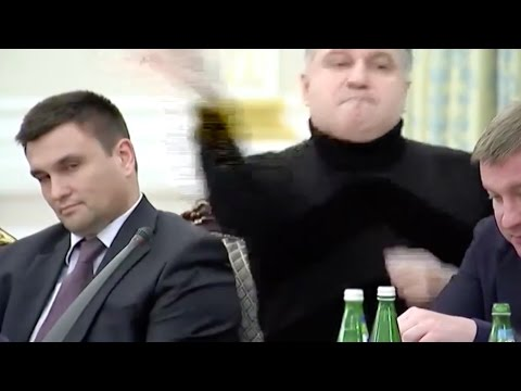 Ukraine minister Avakov throws glass at Saakashvili [full rant + English subs]