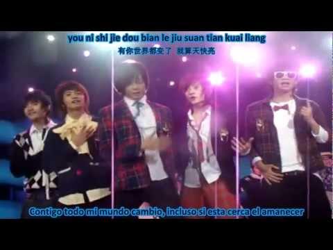 TOP COMBINE - Cotton candy - Sub español + pinyin + romanización Live HD
