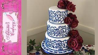 Navy Scrolls Wedding Cake