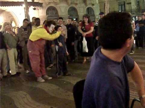 Clown on La Rambla in Barcelona