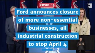 Ford announces closure of construction sector, with the exception of