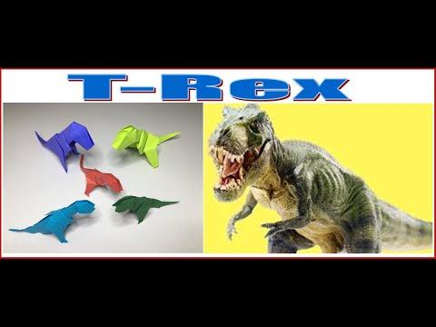 Origami T Rex Tyrannosaurus Dinosaur #1  - A to Z DIY ORIGAMI PAPER CRAFT