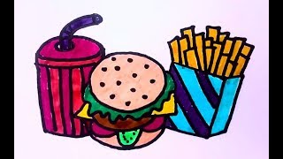 Fast Food Coloring drawing Pages : Painting Fast Food Coloring Videos – Coloring Videos for Kids