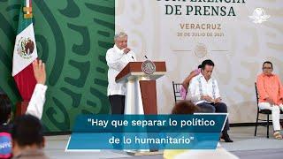 El presidente Andrés Manuel López Obrador hizo un respetuoso llamado a su homólogo de Estados Unidos Joe Biden, para que ante la crisis social en Cuba, se separe lo humanitario de lo político y permita la entrada de remesas a la isla