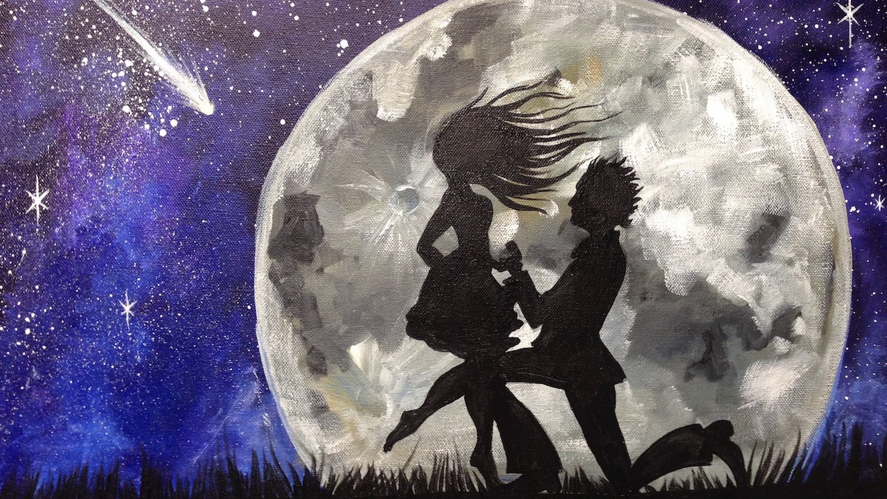 Beginner Acrylic Tutorial | Couple in Love Painting | The Art sherpa ... for Silhouette Paintings Of Couples  51ane