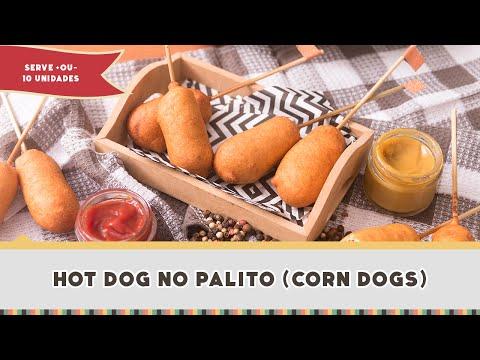 CACHORRO QUENTE DIFERENTE (Como fazer Hot Dog no palito ou Corn Dogs) - Receitas de Minuto #261