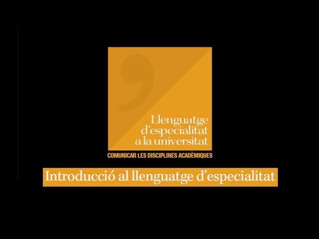 Introducció al llenguatge d'especialitat