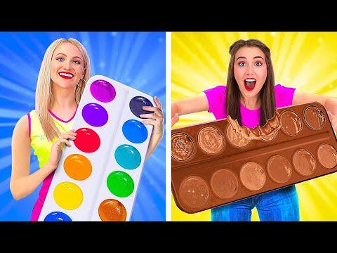 ALIMENTS RÉELS CONTRE CHOCOLAT, UN DÉFI ! || Comment Ne Manger Que Du Chocolat avec 123 GO! GOLD