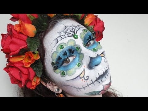 el dia de los muertos make up maquillage de la f te des morts youtube. Black Bedroom Furniture Sets. Home Design Ideas