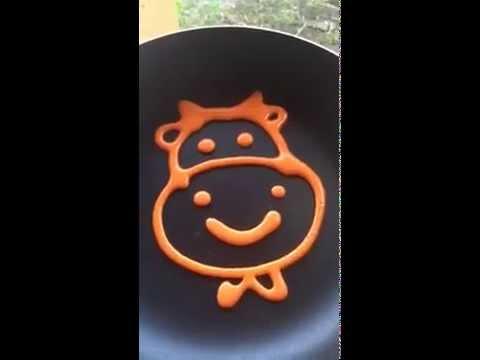 How to make a COW PANCAKE  วิธีทำแพนเค้กการ์ตูนรูปวัว