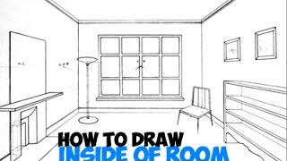 How to Draw in 3 Point Perspective - Inside of a Room