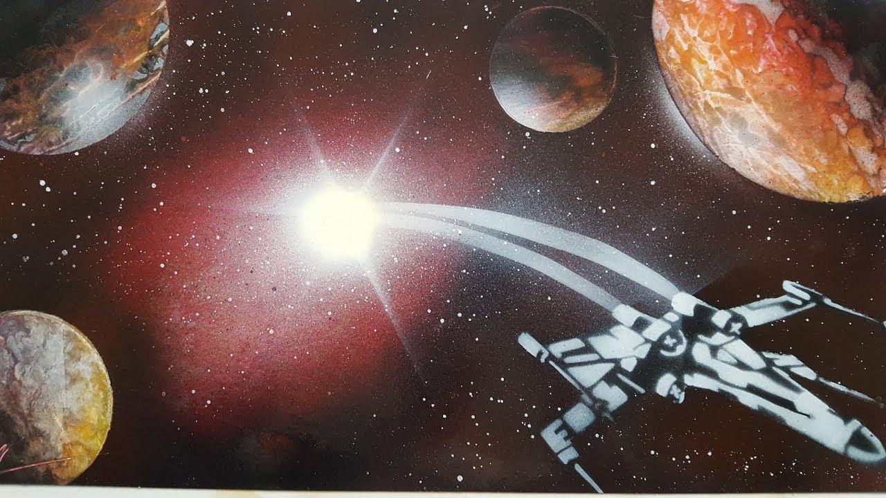 Nghê thuật phun sơn: X-Wing Galaxy (Chiến tranh giữa các vì sao)| TH Art