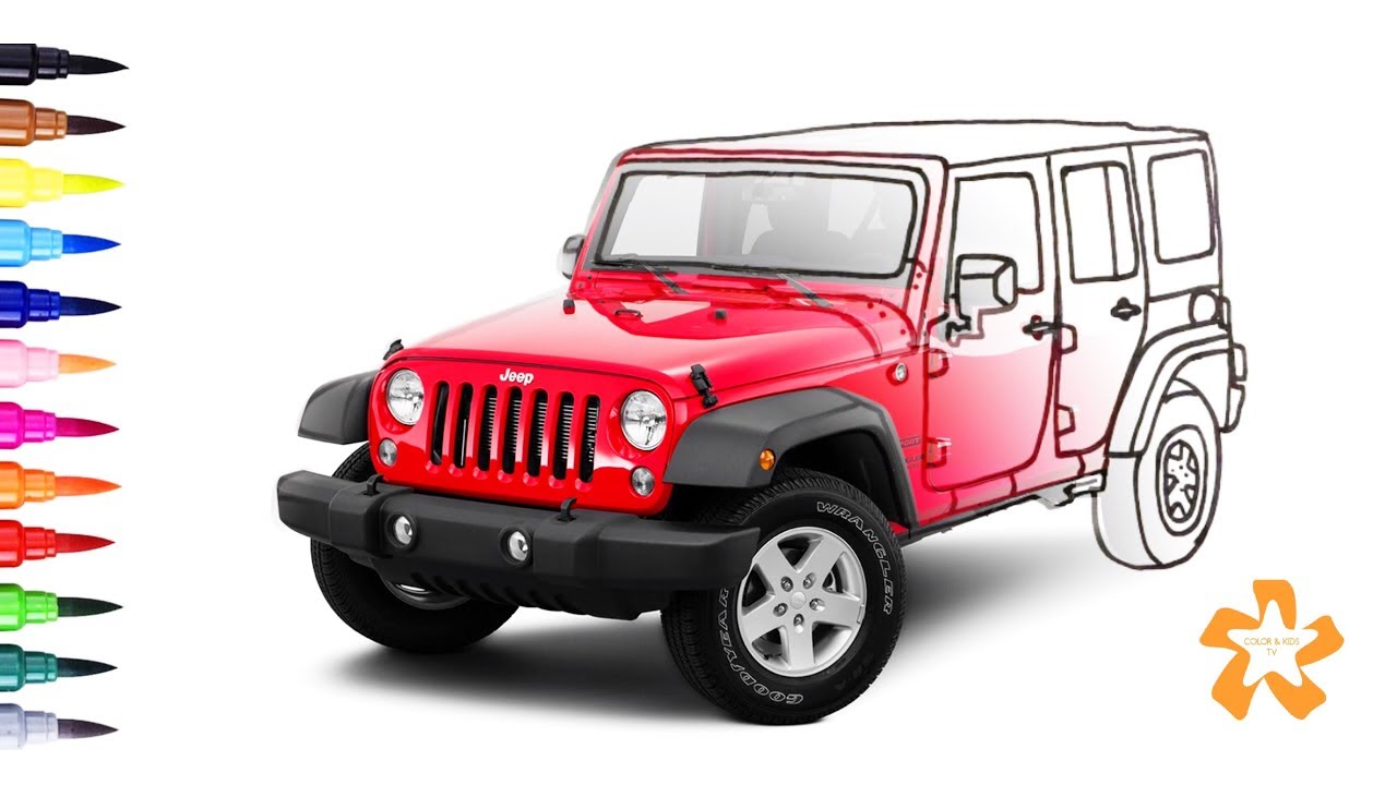 Cars - How to color Jeep Wrangler - Coloring Pages For Children With ...