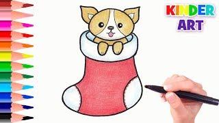 как нарисовать собаку на Новый год 2018  How to draw a puppy in christmas stocking