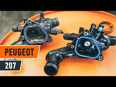 How to change engine thermostat onPEUGEOT 207[TUTORIAL AUTODOC]