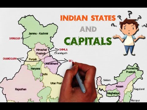 INDIAN STATES AND CAPITALS - explained on map of India (easy