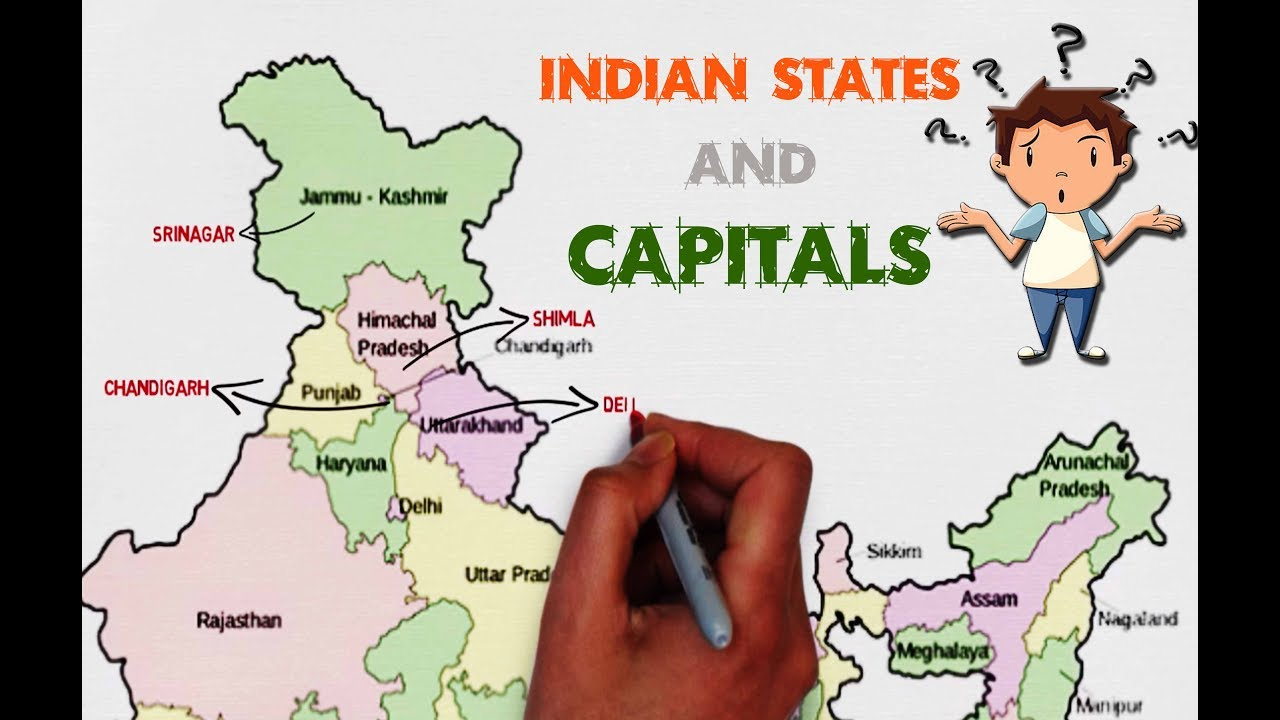 INDIAN STATES AND CAPITALS explained on map of India