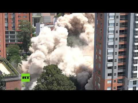 RT en Español: Colombia derriba el edificio Mónaco, un símbolo del narco y la fortaleza de Pablo Escobar