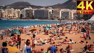 4K  Playa de Las Canteras, Las Palmas de Gran Canaria 2017 Mar.