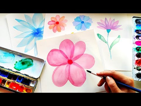 How To Paint Easy Watercolor Layered Flowers - Tutorial For Beginners \ Layering Technique thumbnail