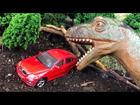 Мультики про машинки | Динозавр напал на Джип, Такси, Грузовик и Гоночную машинку