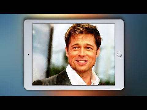 Realistic Finger Painting of Actor Brad Pitt Portrait with iPad