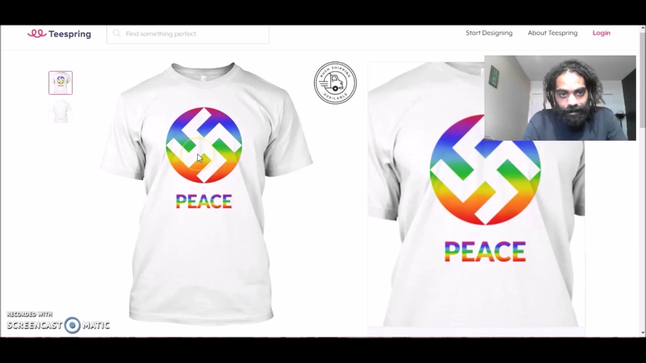 ab42e365 T-Shirt Company Teespring Selling LGBTQP 'Peace & Love' Shirts Featuring  Rainbow Nazi Swastika Designs • Now The End Begins