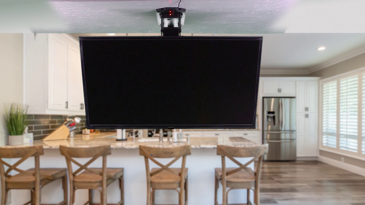 Mount E Fd55 Electric Flip Down Ceiling Tv Mount By Vivo Youtube