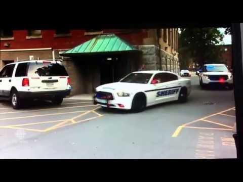 Nova Scotia Sheriff's arrive at courthouse Code 3