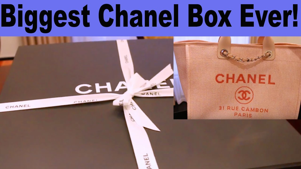 8beb644c892d CHANEL Biggest Box Ever - Deauville Tote Bag Unboxing HD - YouTube