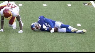 C.J. Board Knocked Out After Scary Hit   Giants vs Washington Football Team Week 6