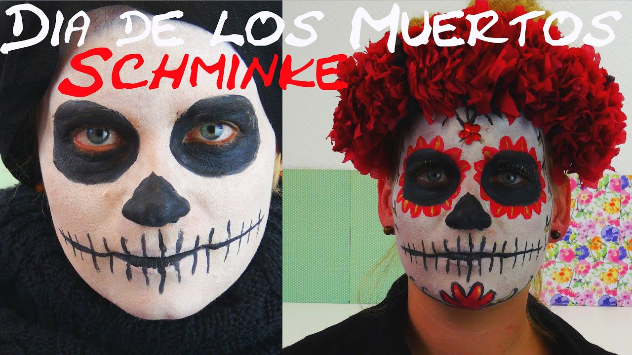 karnevalskost m dia de los muertos make up tutorial deutsch halloween schminke face. Black Bedroom Furniture Sets. Home Design Ideas