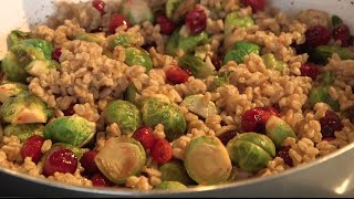 Farro And Goat Cheese Salad With Cranberries, Brussels Sprouts And Pecans