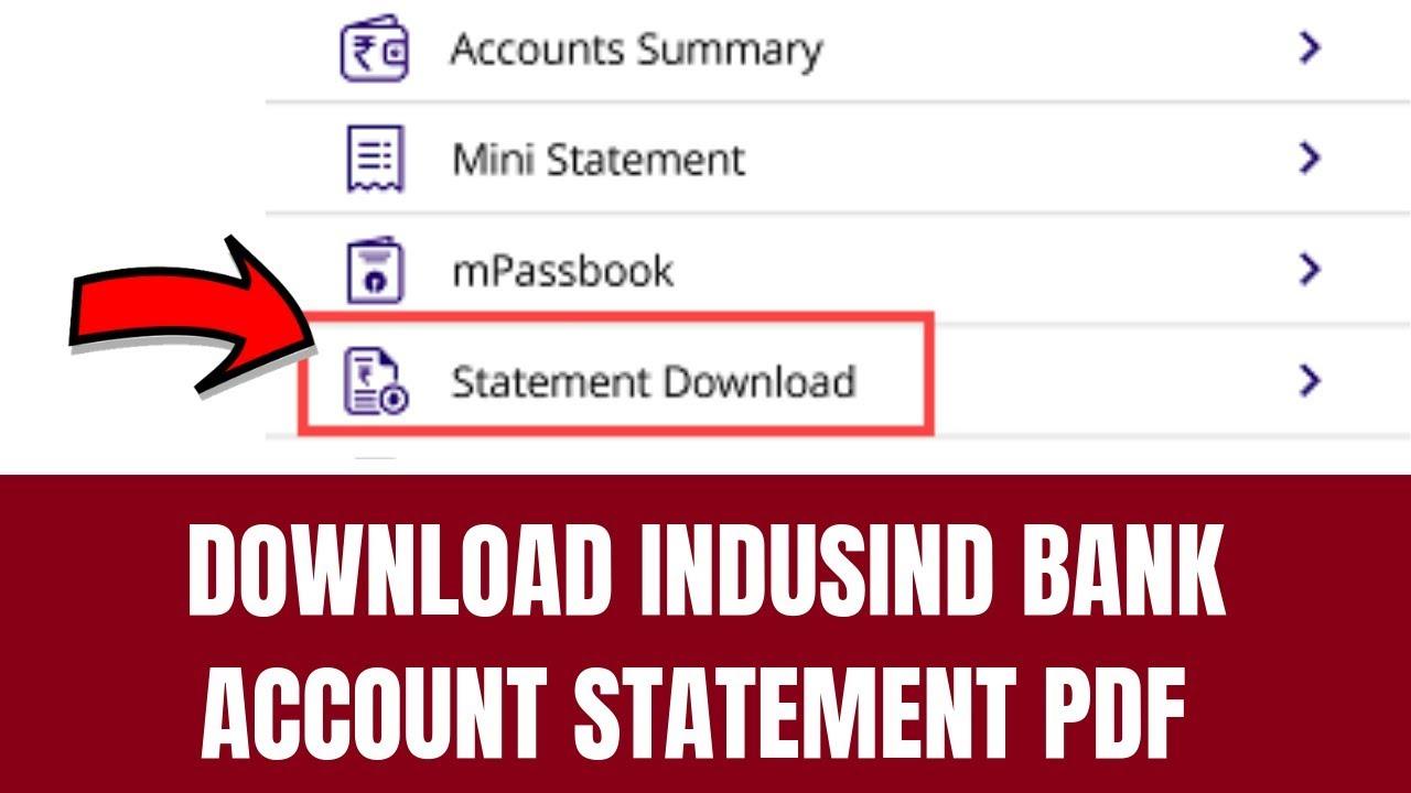 How To Download Indusind Bank Account Statement Pdf How To Download Bank Account Statement Youtube