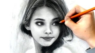Drawing Young Girl - Charcoal Study #I-lost-count - Drawing Video - Art tools in desc