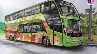 "Speed Drawing ""Gambar Bus DD (Double Decker) Realis"""